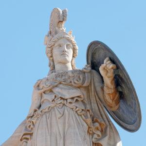 Athena, Greek goddess of knowledge and wisdom, holding the Aegis.